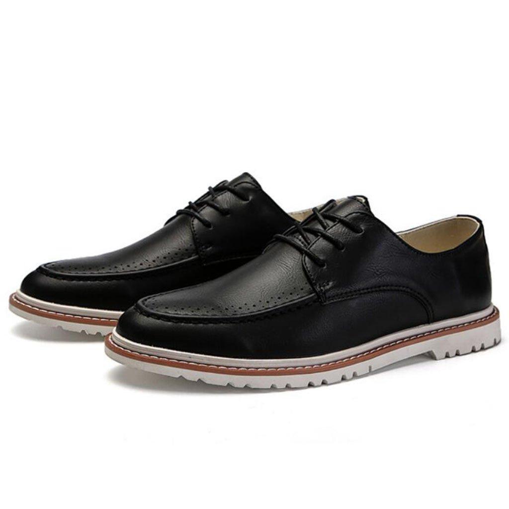 GAOLIXIA Zapatos casuales de la PU de los hombres Zapatos clásicos de la universidad Deportes de primavera Zapatos de skate Negro Blanco (Color : Negro, tamaño : 43) 43|Negro