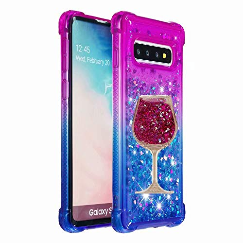 iPhone Xr 6.1 inch (2018) Case,Air Cushion Design 3D [Gradient Quicksand] Wine Glass Goblet Glitter Liquid Quicksand Flowing Sparkle Flexible TPU Case for Apple iPhone XR(Cushion-20)