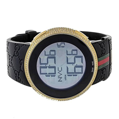 Mens I Gucci Watch YA114207 Digital Rubber Band Real 4CT White Diamond