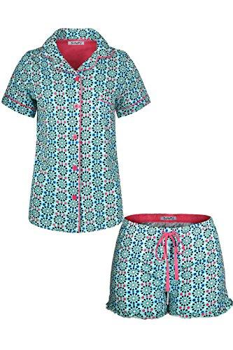 SofiePJ Women's Printed Cotton Short Sleeve Notch Collar Button-Down Pajama Shirt & Short Pants Set Turquoise L