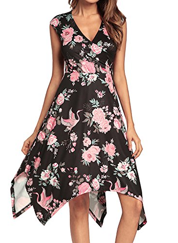 Hem Hankerchief Dresses (REMASIKO Women's Sleeveless Summer Casual Swing Sundress Flare Floral Tank Dress XXL Black)