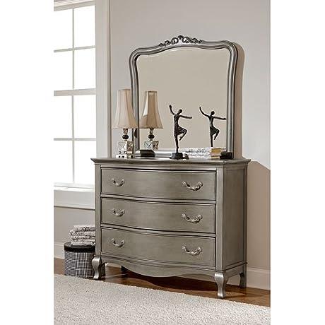 NE Kids Kensington 3 Drawer Dresser With Mirror In Antique Silver