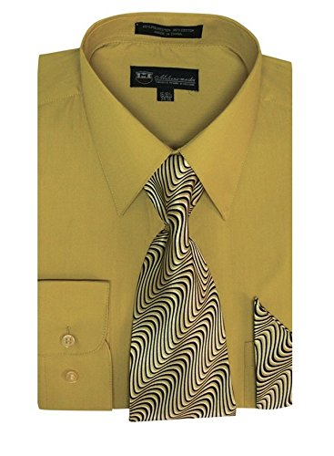 Milano Moda Men's Long Sleeve Dress Shirt With Matching Tie And Handkie SG21A-Mustard-17-17 1/2-34-35 -