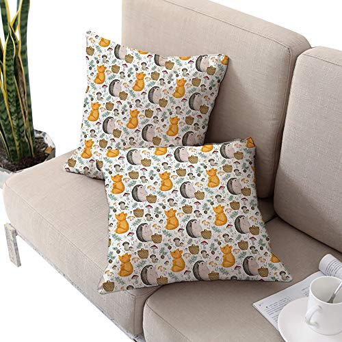 (Hedgehog Square Square Euro Sham Cushion Cover,Pattern with Hedgehog Fox Basket Mushrooms Cones and Spruce Life in The Woods Multicolor W24 xL24 2pcs Cushion Cases Pillowcases for Sofa Bedroom Car)