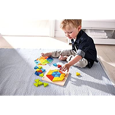 HABA Arranging Game Magical Pyramids - 36 Triangular Wooden Tiles with 6 Double Sided Templates for ages 2-6 (Made in Germany): Toys & Games