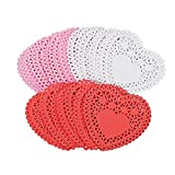 100 Mini Valentine Heart Doilies in pink, white & red!