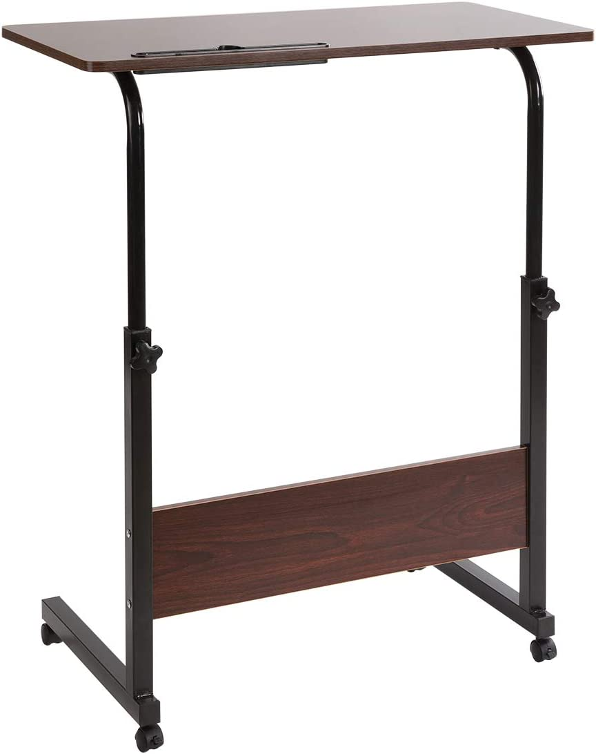 DOEWORKS Adjustable Laptop Stand Portable Cart Tray Side Table, Cherry