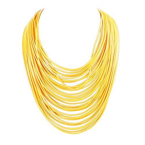 Yuhuan Necklace Women Fashion Bib Choker 36 Layers Wax Line Collar Statement Jewelry (Yellow)