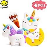 Papi Bobo Jumbo Squishy - Cute Colored Unicorn, Unicorn Donut, Moon Unicorn and Ice Cream Set, Kawaii Cream Scented Squishies Slow Rising Decompression Squeeze Toys for Kids, 4 Piece