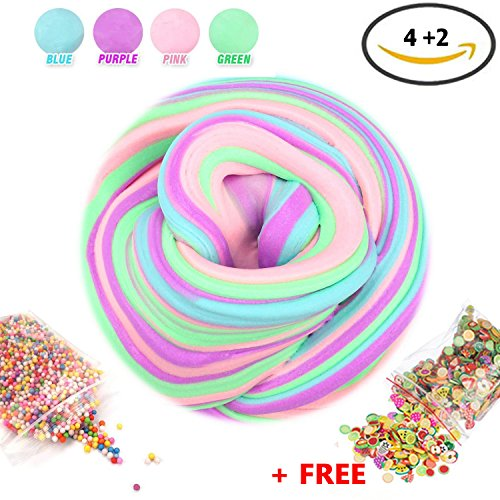 Magic Fluffy Slime Kit with beads, fruit slices, NON-STICKY Soft extra Fluffy Floam Slime putty, Stress Relief Toy, Great gift for kids