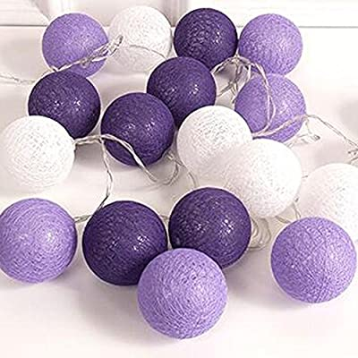 10 Feet Purple Shades Cotton Ball Fairy String Party Light Lantern 20 LED AA Battery Powered Wedding Girl Bedroom Bridal Shower Party Decoration Hen Party Patio Garden Home Decor