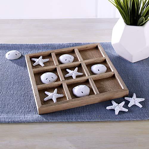 Dennis East Nautical Tic Tac Toe Board Game with Faux Seashells, Starfish - Beach Decor