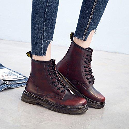 Boots Classiques Impermeables Martin 43 Lacets Rouge Femme Cuir Fourrées Chaussures Chaudes Homme Bottes Plates Botte Bottines Hiver qpz7x1