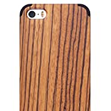 iphone 5 case with display - iPhone 5/5S/SE WOOD Case - iCASEIT Slimfit Lightweight Unique Grain Hybrid Snap-On Protective Shockproof Drop proof Bumper Protection Real WOODEN Cover for Phone SE/5S/5 - Zebra Wood/Black