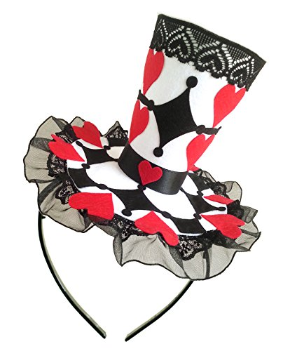 Queen of Heart Costume Mini Top Hat Headband Mad Hatter Tea Party Alice in Wonderland Party