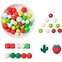Biter teether Mix Silicone Bulk Teething Beads Set Soft Silicone Red Strawberry Beads Various Sizes & Color Chewable…