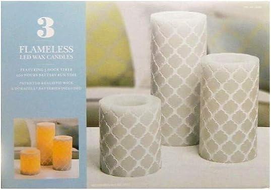 Flameless LED Wax Candle Set 3Pc Gray Diamond Pattern Unscented