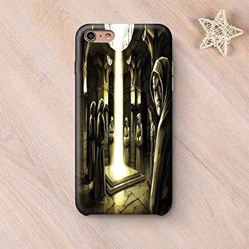 Traditional Compatible with iPhone Case,Mystic Ritaul in The Dark Temple with Monks Spiritual Sacred Magic Illustration Compatible with iPhone X,iPhone 6 Plus / 6s Plus ()