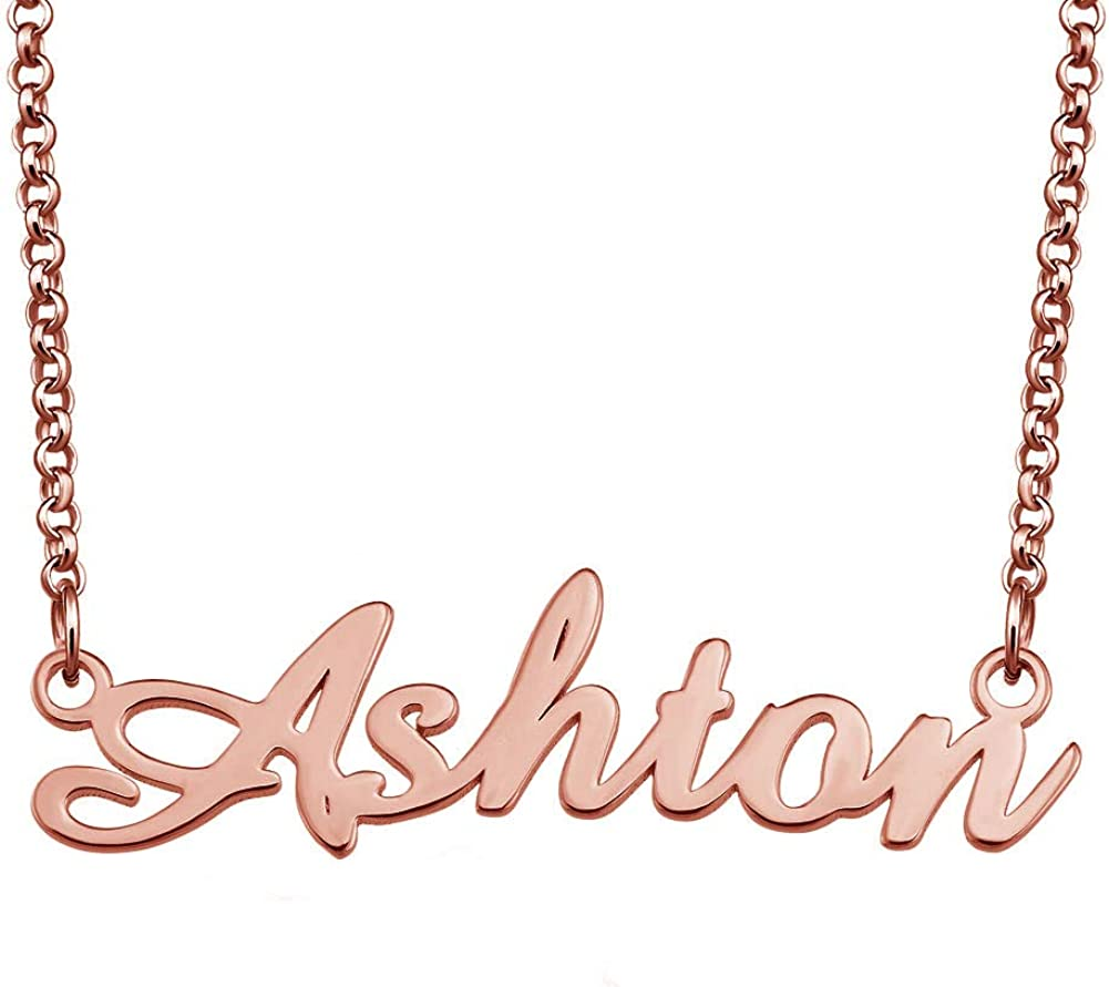 EV.YI Jewels Stainless Steel Plated Custom Rose Gold Personalized Name Necklace