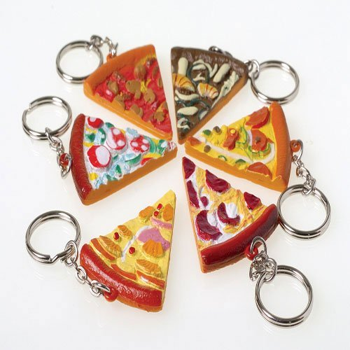 - US Toy - Assorted Pizza Slice Key Chains, 1.75