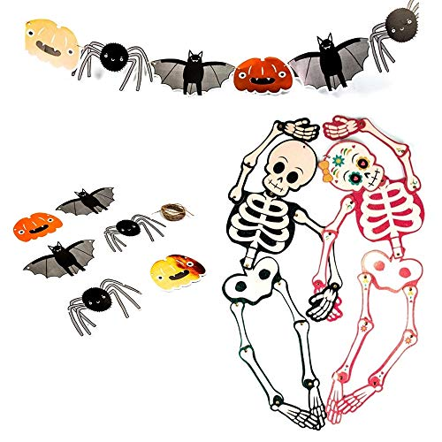 UNIQOOO 14Pcs Halloween Felt Banner Party Decoration Cute Skeletons Hanger, Foiled Pumpkins,Spiders,Bats Paper Garland, 25'' Skulls for Kids Boy Girl]()