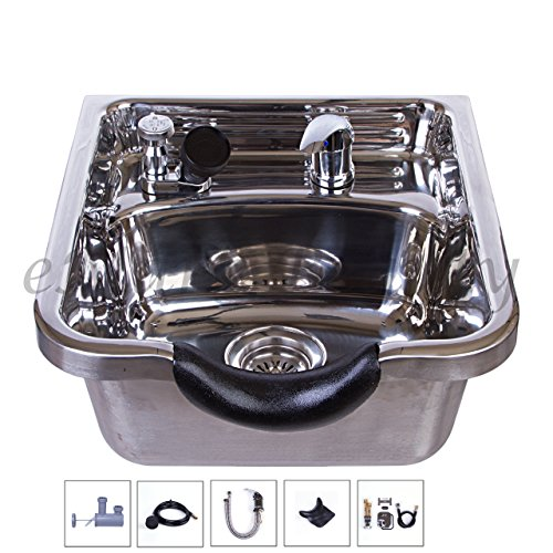 Stainless Steel Shampoo Bowl Shampoo Sink Barber Beauty Salon Polished TLC-1168 by eMark Beauty