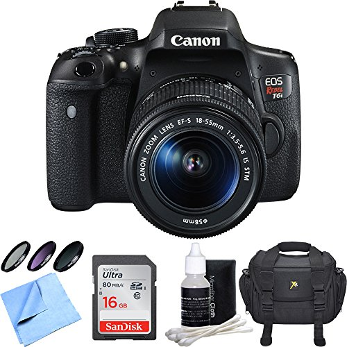 Canon EOS Rebel T6i Digital SLR Camera w/EF-S 18-55mm IS STM Lens Bundle includes Camera, Lens, 58mm Filter Kit, Compact Gadget Bag, 16GB SDHC Memory Card, Lens Cleaning Kit and Beach Camera Cloth