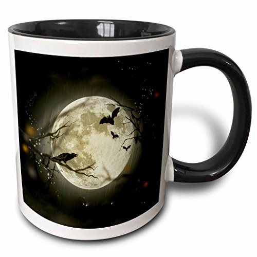 3dRose 156735_4 Full Moon with a Crow and Bats Mug, 11 oz, Black