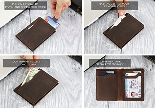 Travel Wallet RFID Blocking Bifold Slim Genuine Leather Thin Minimalist Front Pocket Wallets for Men Billfold - Made From Full Grain Leather (Texas Brown 5.0)
