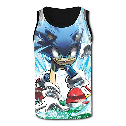 Cool So-nic Hedgehog Men's Graphic Tank Top Tees Casual Workout Sleeveless Jersey T-Shirts Black