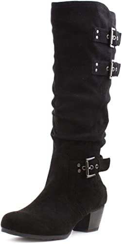 Lilley Womens Black Faux Suede Knee