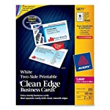 Wholesale CASE of 15 - Avery Clean Edge Laser Business Cards-Business Cards,F/Laser Printer,200/PK,3-1/2''x2'',White