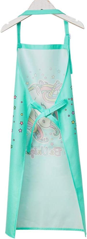 rose Beinou Tablier r/églable pour enfant avec 2 poches Motif licorne et requin Polyester Large 8-12 Years