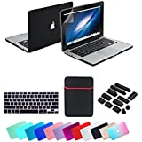 Se7enline Rubberized Frosted Soft Touch Hard Shell Case Cover for 13.3-Inch Macbook Bundle with Sleeve Bag, Silicone Keyboard Protector, Clear LCD Screen Protector, 12 Piece Dust plug