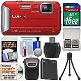 Panasonic Lumix DMC-TS30 Tough Shock & Waterproof Digital Camera (Red) with 16GB Card + Case + Battery + Flex Tripod + Kit