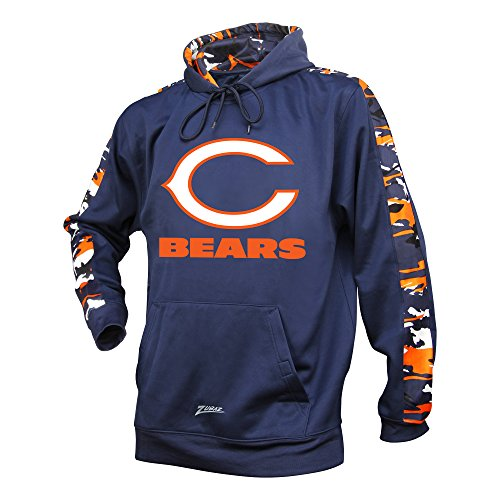 Chicago Bears Hoodie - Zubaz Adult Men Chicago Bears, Camo Print, Medium