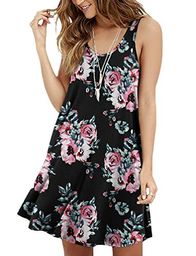 Viishow Women's Sleeveless Floral Print Mini Tank Dress A Line Beach Sundresses(Floral Black XXL) ()