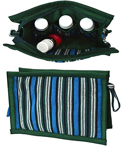 Medium Essential Oils Storage Case | Protects 8 Oils: 5mL - 10mL - 15mL | Travel Bag for Purse | Holds doTERRA, Now & Young Living Oils | Compact Essential Oils Organizer for Women & Kids (Blue-Green) by EssentialOilsandCo.