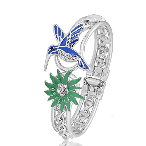 (PANGRUI Exquisite Enamel Hummingbird and Grass Charm Bangle Bracelet with Cool Design Crystal Hoop (Silver))