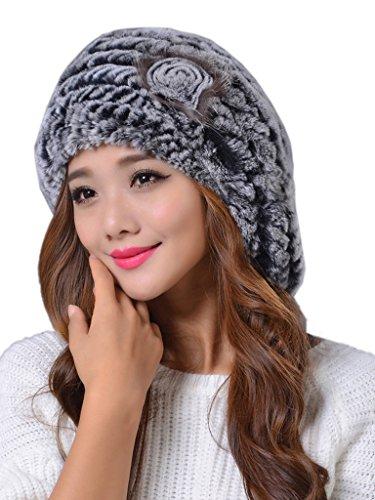 (LITHER Women's Winter Rex Rabbit Fur Beret Hat with Fur Flower Grey)