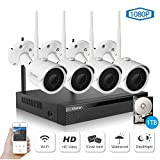 Wireless Security Camera System, Etration 4 Channel 1080P Full HD Video Security System, 4pcs 1080P Wireless Bullet IP Cameras, Wireless NVR Kits, P2P, Superior Night Vision,1TB HDD Pre-installed