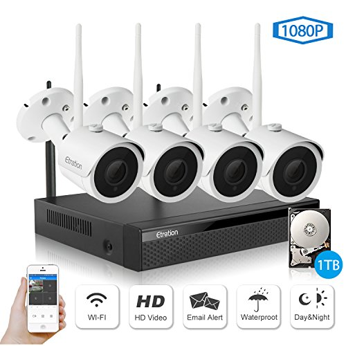 Wireless Security Camera System, Etration 4 Channel 1080P Full HD Video Security System, 4pcs 1080P Wireless Bullet IP Cameras, Wireless NVR Kits, P2P, Superior Night Vision,1TB HDD Pre-installed by Etration