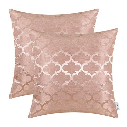 CaliTime Pack of 2 Cushion Covers Throw Pillow Cases Shells for Home Sofa Couch Modern Quatrefoil Accent Geometric 20 X 20 Inches Dusty Pink by CaliTime