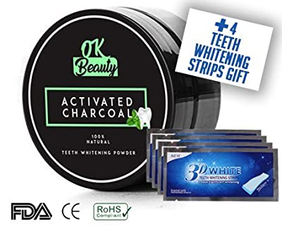 Natural Activated Charocal Teeth Whitening Powder Black Powder Toothpaste Mint Flavor With Gift Free 4 Teeth Whitening Strips by OK-Beauty