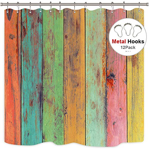 Riyidecor Painted Wood Shower Curtain Rustic with Metal Hooks 12 Pack Colorful Wooden Vintage Barn Door Colored Striped Rainbow Vertical Wood Planks Decor Fabric Bathroom Set 72x72 ()