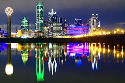 Downtown Dallas Texas Skyline Reflections Photo Art Print Poster 18x12