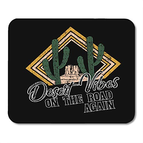 Semtomn Gaming Mouse Pad Desert Vibes and Cactus with Slogan Western Road Tripper Label with Styled 9.5