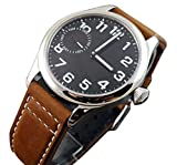 Parnis Pilot Silver Case White Number Black Dial See-through Mechanical Mens Womens Swan Neck Watch Brown