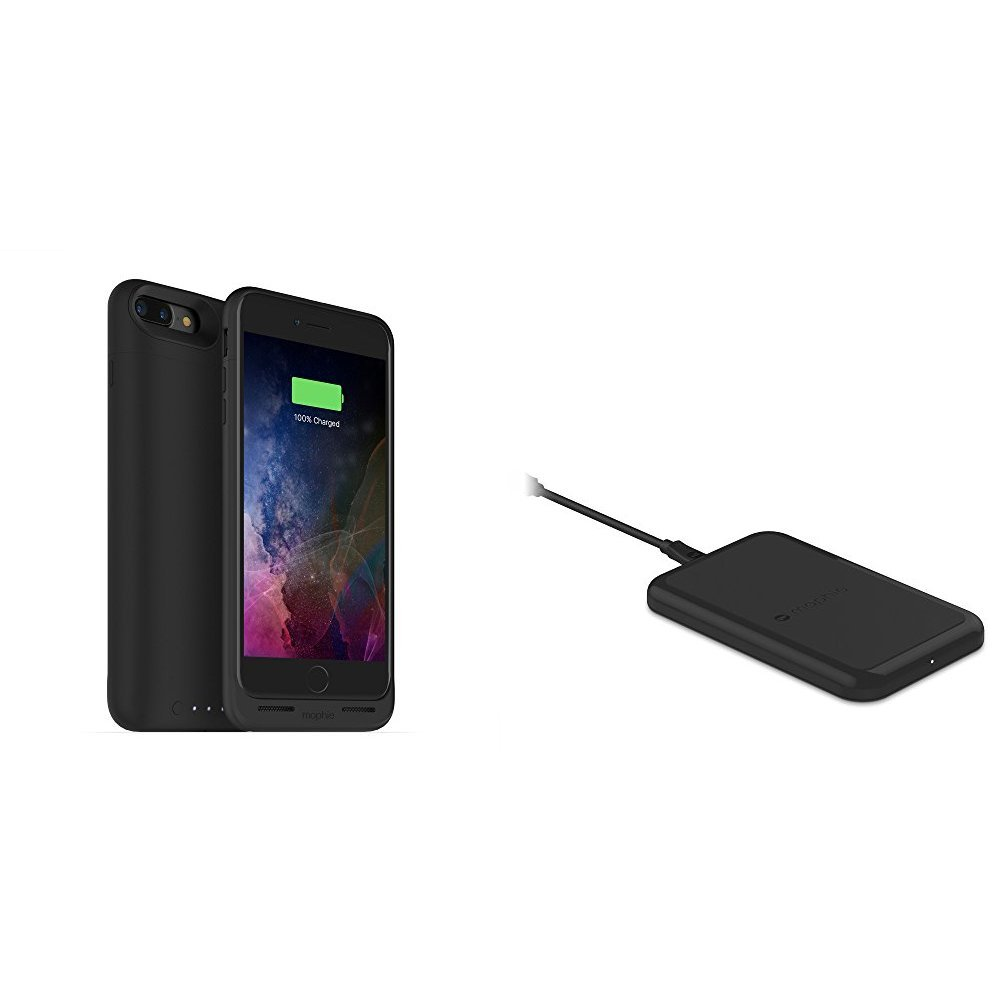 mophie juice pack wireless  - Charge Force Wireless Power - Wireless Charging Protective Battery Pack Case for iPhone 7 Plus – Black plus mophie Charge Force Wireless Charging Base bundle