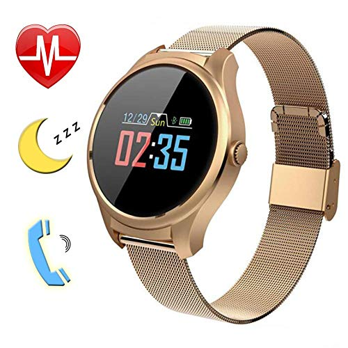 DYR Color Screen Smart Watch,Heart Rate Monitor,Blood Pressure Monitor,Sleep Monitor for Kids Women Men,Gold